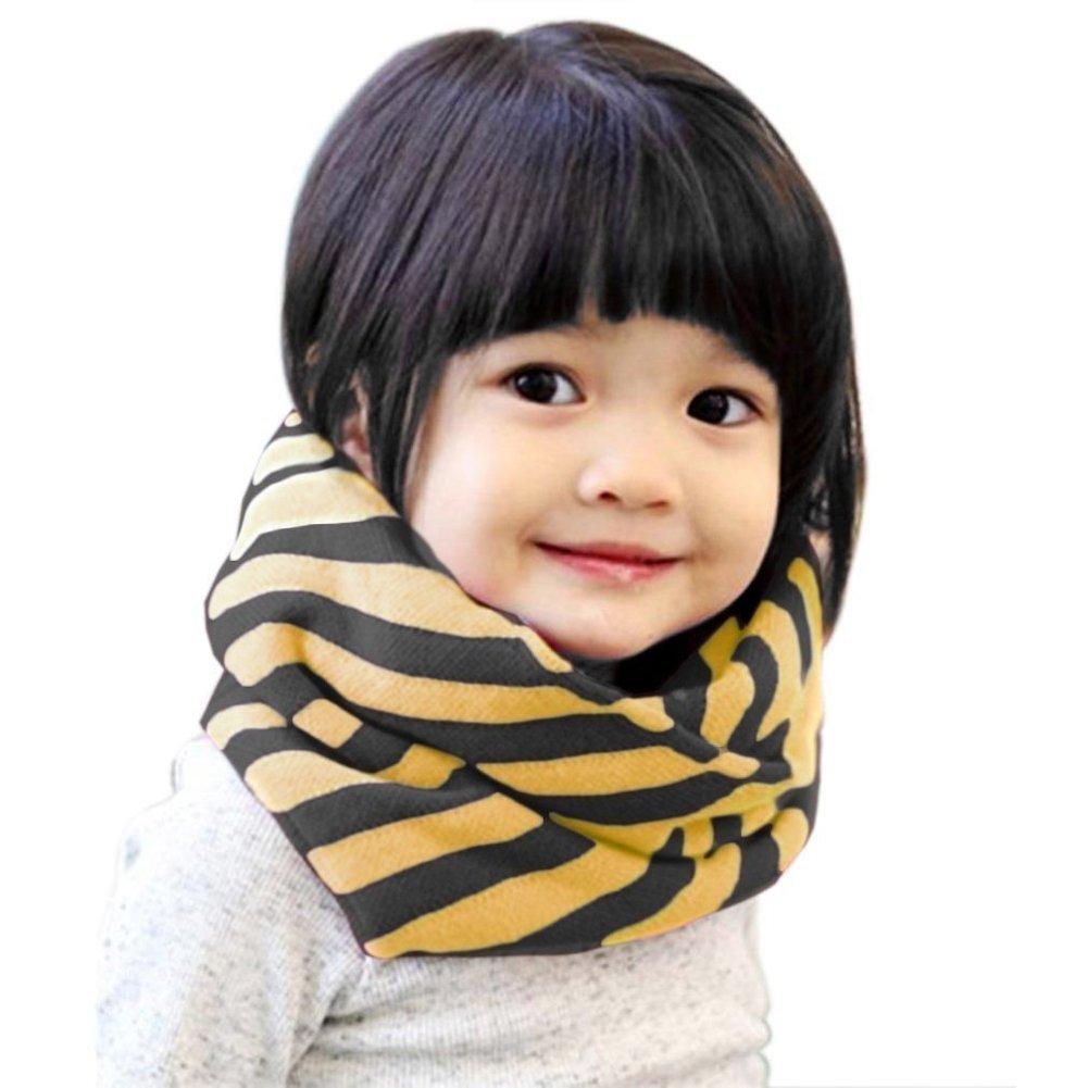 TININNA Bufandas del Invierno del Bebé, Collar Niño Niña Otoño Chicas Chicos Invierno Algodón O Ring Caliente Pañuelos Cofia-Raya de Amarillo