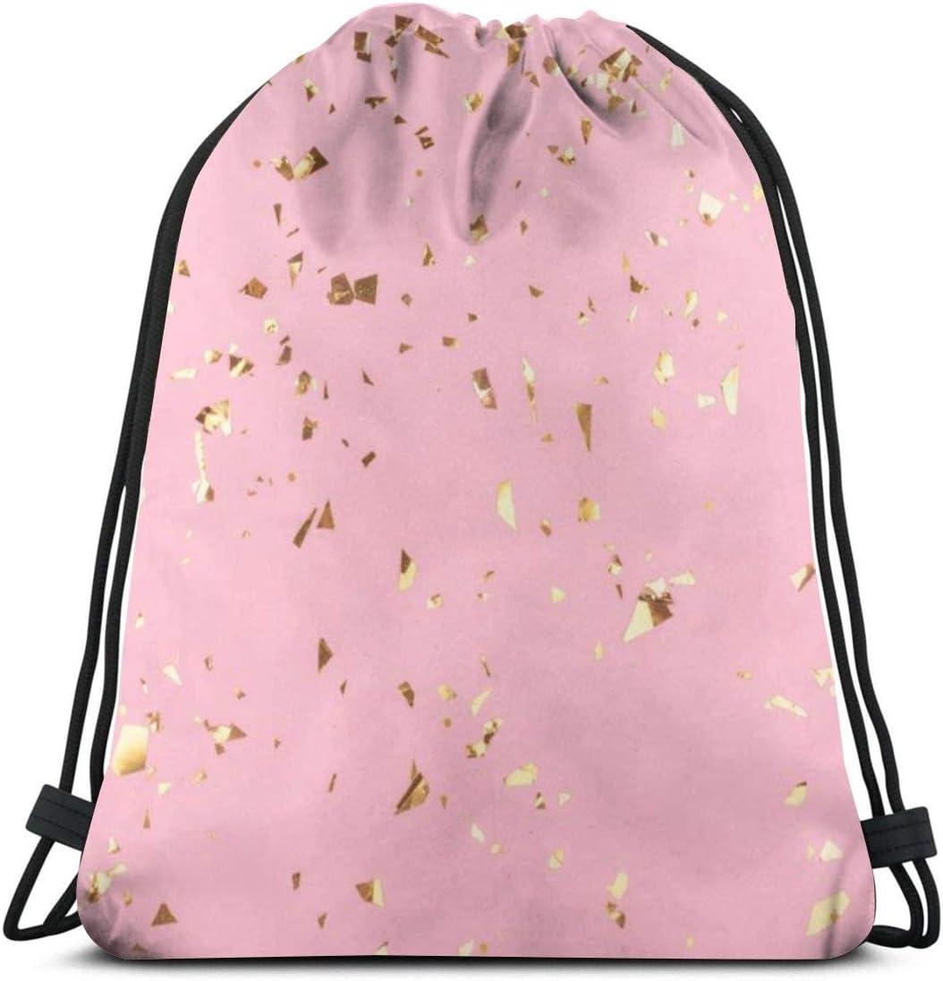 Trendy Pink Geo Personalized Drawstring Backpack Drawstring Bag