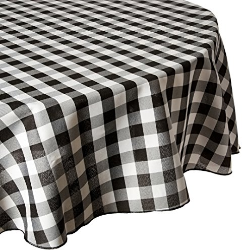 LinenTablecloth 90-Inch Round Polyester Tablecloth Black & White Checker