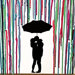Kissing In The Rain, Melted Crayon Art, Handmade Home Decor, In The Rain Wax Painting 22\
