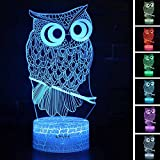 Owl Toys Visual 3D lamp Illusion Night Light Festival Birthday Valentines Day Children Gift Nursery Bedroom Desk Table Decoration for Boys Kids Children Animal Lovers by KIVVEE