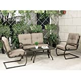 Cloud Mountain 4 Piece Cushioned Outdoor Furniture Garden Patio Conversation Set, Wrought Iron Coffee Table Loveseat Sofa 2 Chairs (Patio Conversation Set 2, Gradient Brown) Review
