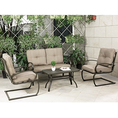 Patio Conversation Table (Cloud Mountain 4 Piece Cushioned Outdoor Furniture Garden Patio Conversation Set, Wrought Iron Coffee Table Loveseat Sofa 2 Chairs (Patio Conversation Set 2, Gradient Brown))