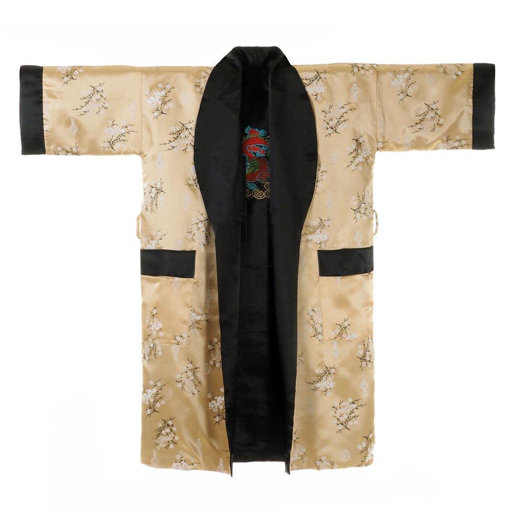 Princess of Asia Japanischer Wende-Kimono Satin Morgenmantel für Damen & Herren mit Drachen-Stickerei Dragon