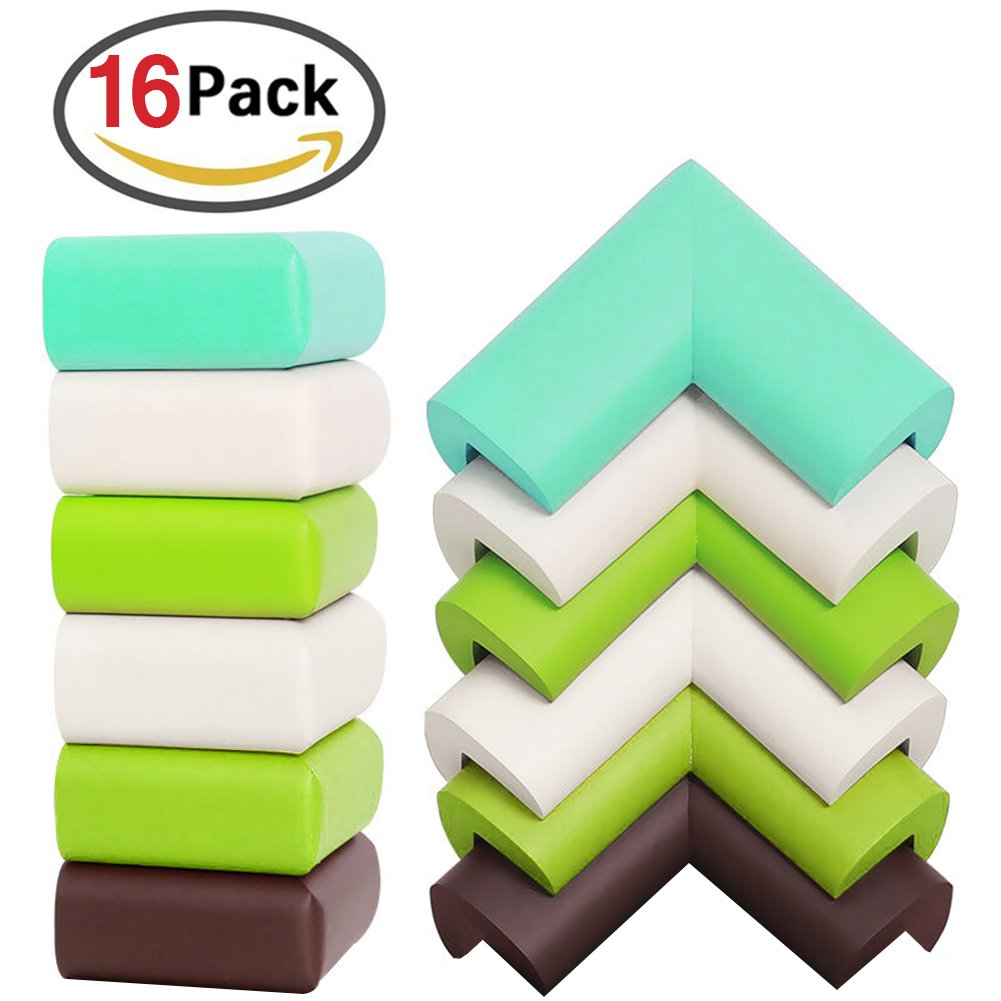 ZesGood 16 Pack Soft EVA Baby Proofing Bumper Corner Guards with 3M Adhesive, 4 Colors