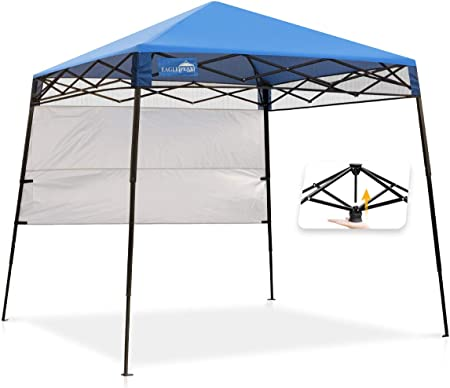Amazon Com Eagle Peak Day Tripper 8 X 8 Slant Leg Lightweight Compact Portable Canopy W Backpack Easy One Person Set Up Folding Shelter And 36 Square Feet Of Shade Blue Garden