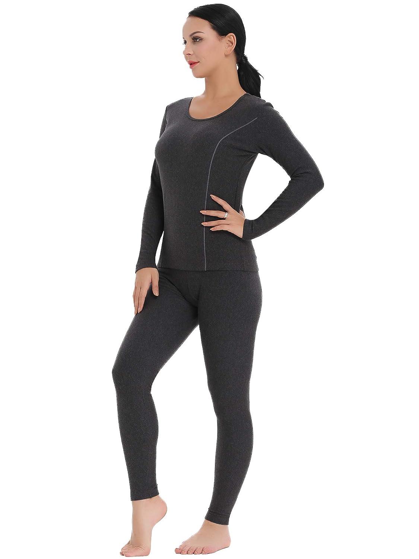 Amorbella Womens Ultra Soft Thermal Underwear Set Cotton Long Johns Base Layer Fleece Lined S-XXL AB0023