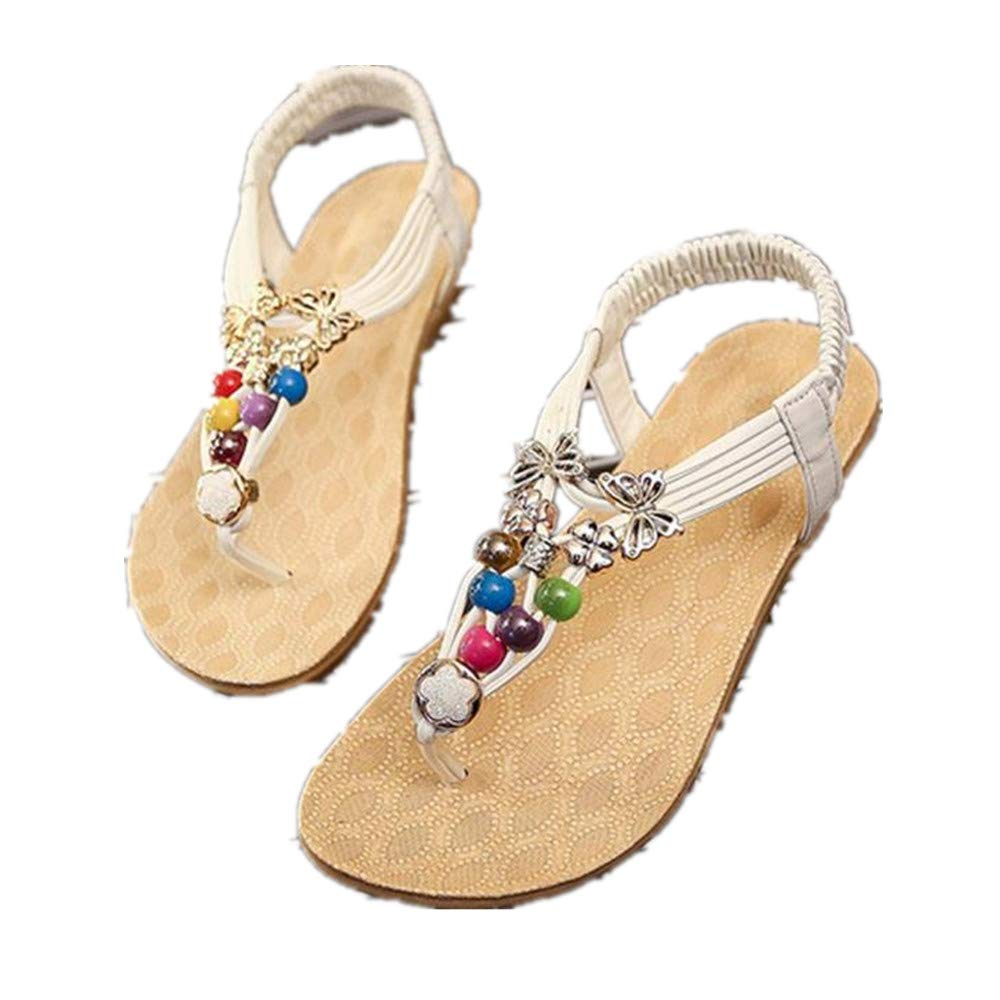WugeshangmaoWomen's Summer Shoes Fashion,Beach Sandals for Women,Teen Girls' Bohemia Clip Toe Sweet Beaded Sandals White