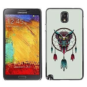 Caucho caso de Shell duro de la cubierta de accesorios de protección BY RAYDREAMMM - Samsung Galaxy Note 3 N9000 N9002 N9005 - Dream Catcher Owl Art Turquoise Red Drawing