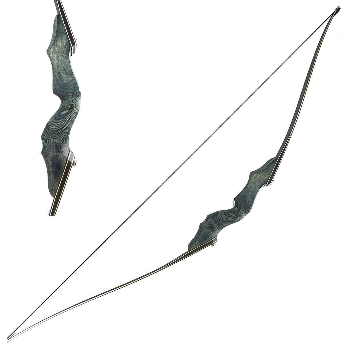 Obert Black Hunter Archery Takedown Recurve Bow American Longbow Adult Right Hand Hunting Wood Bow 60'',30-60lbs Target Practice