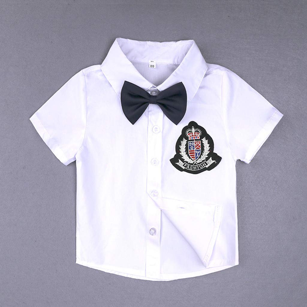 Dinlong Toddler Kids Baby Boy Gentleman Clothes Sets Bow Ties Shirts Suspenders Shorts 2Pcs Outfit Suits