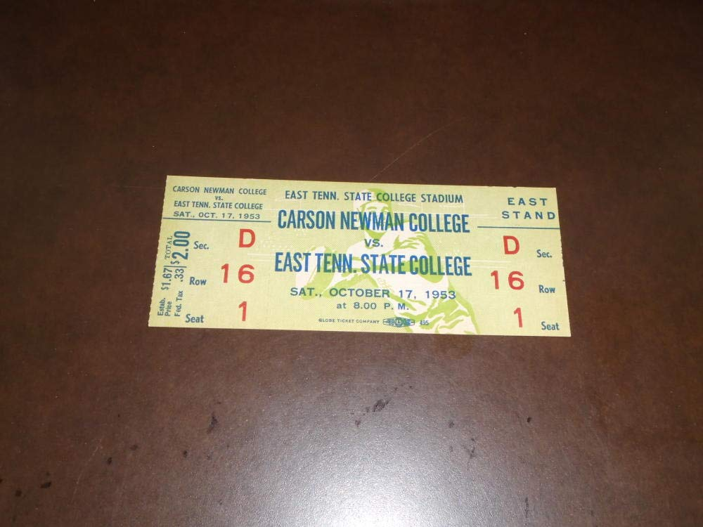 1953 CARSON NEWMAN AT EAST TENNESSEE STATE COLLEGE FOOTBALL UNUSED FULL TICKET