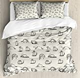 Doodle Queen Size Duvet Cover Set by Lunarable, Funny Cat Characters Sketch Art Style Friendly Playful Kitties Lazy Fluffy Animals, Decorative 3 Piece Bedding Set with 2 Pillow Shams, Beige Black