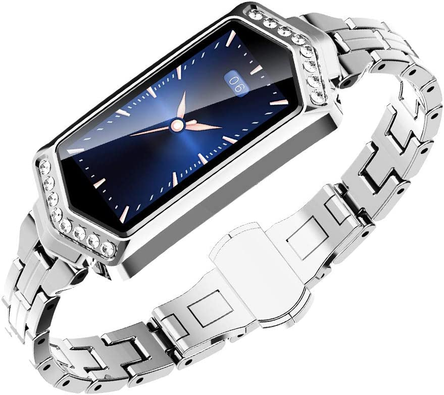 Luckiests Las Mujeres Bluetooth IP67 a Prueba de Agua de frecuencia Cardiaca de la presión Arterial Inteligentes Diamantes de imitación de Fitness Reloj de Pulsera de Control Remoto de la cámara