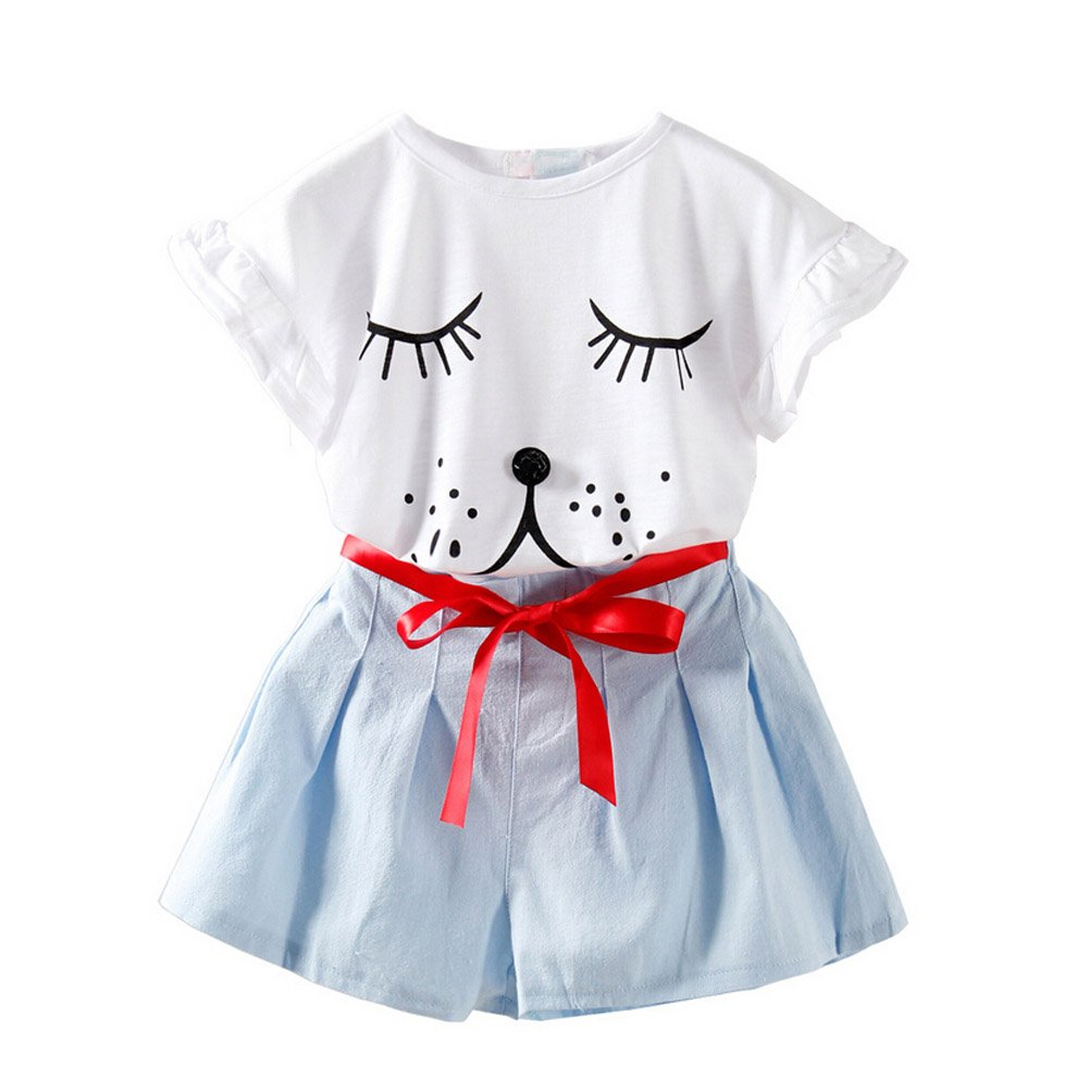 Fashion Little Girls Adorable Puppy Printed Casual T-shirt and Pants 7T, White
