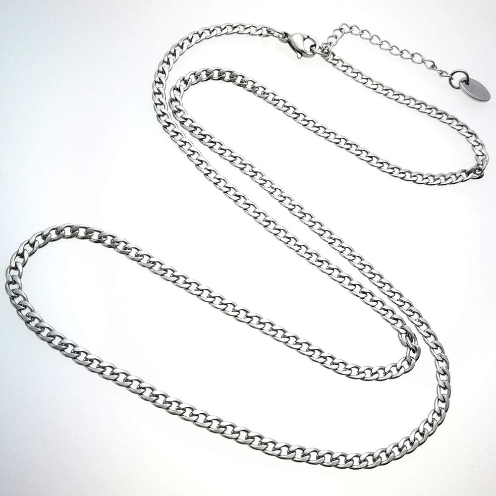 Ahappy Gift Jewelry Silver Tone Women Lady Girl Stainless Steel Necklace Jewelry Adjustable 45-60cm