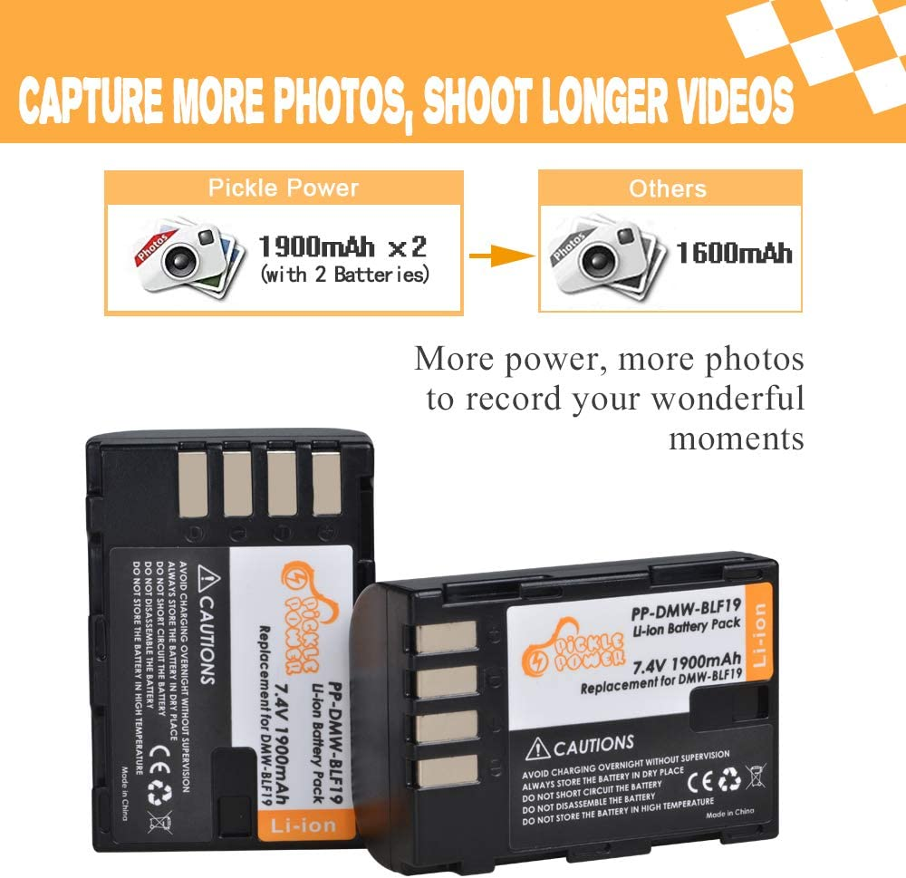 Pickle Power 2 x DMW-BLF19 DMW-BLF19E DMW-BLF19PP Batteries and LED Dual USB Charger Compatible with Lumix DC-G9 DC-GH5 DC-GH5LK DC-GH5S DMC-GH3 DMC-GH3A DMC-GH3K DMC-GH3H DMC-GH4 DMC-GH4K