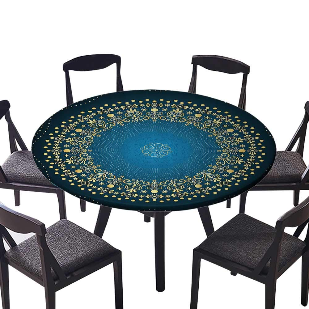 "Youdeem-tablecloth Circular Table Cover Digital Moroccan Sign of Universe Folkloric Asian Heritage or Everyday Dinner, Parties 59""-63"" Round (Elastic Edge)"