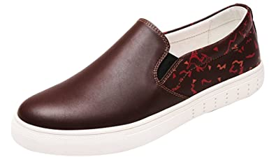 QZYYU-8888 Mens Snug Dating Breathable Slip On Walking Cozy Durable Flat Penny Loafers Lightweight Driver Elastic Shoes Slide Printed Pattern