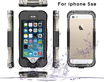 iPhone 5SE 5S 5 Funda, Moonmini® Impermeable Waterproof Sumergible Protectora Bumper Hard Carcasa para Apple iPhone 5SE 5S 5 - Negro