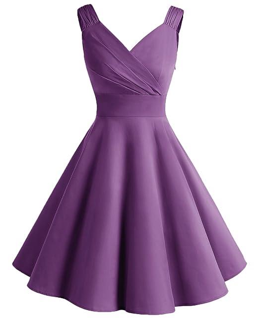 Bridesmay Mujeres Vestidos Cortos Retro Rockabilly Escote En Pico Sin Mangas Purple M