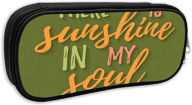 Estuche escolar, Hay sol en mi alma hoy Letras inspiradoras Bolígrafo Bolso de papelería de oficina: Amazon.es: Oficina y papelería