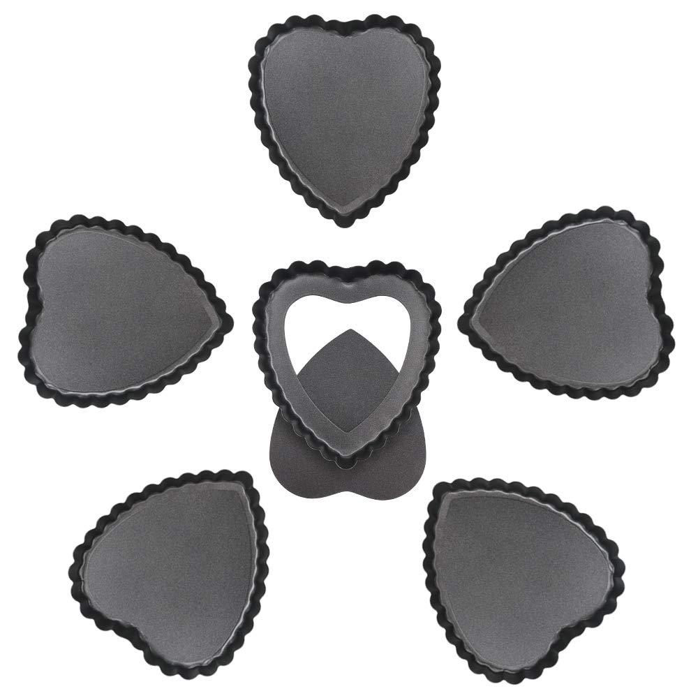 Quiche Pan, Beasea 6pcs 4 Inch Non Stick Pie Pan Heart Shape Tart Pan Removable Bottom Mini Tart Pans