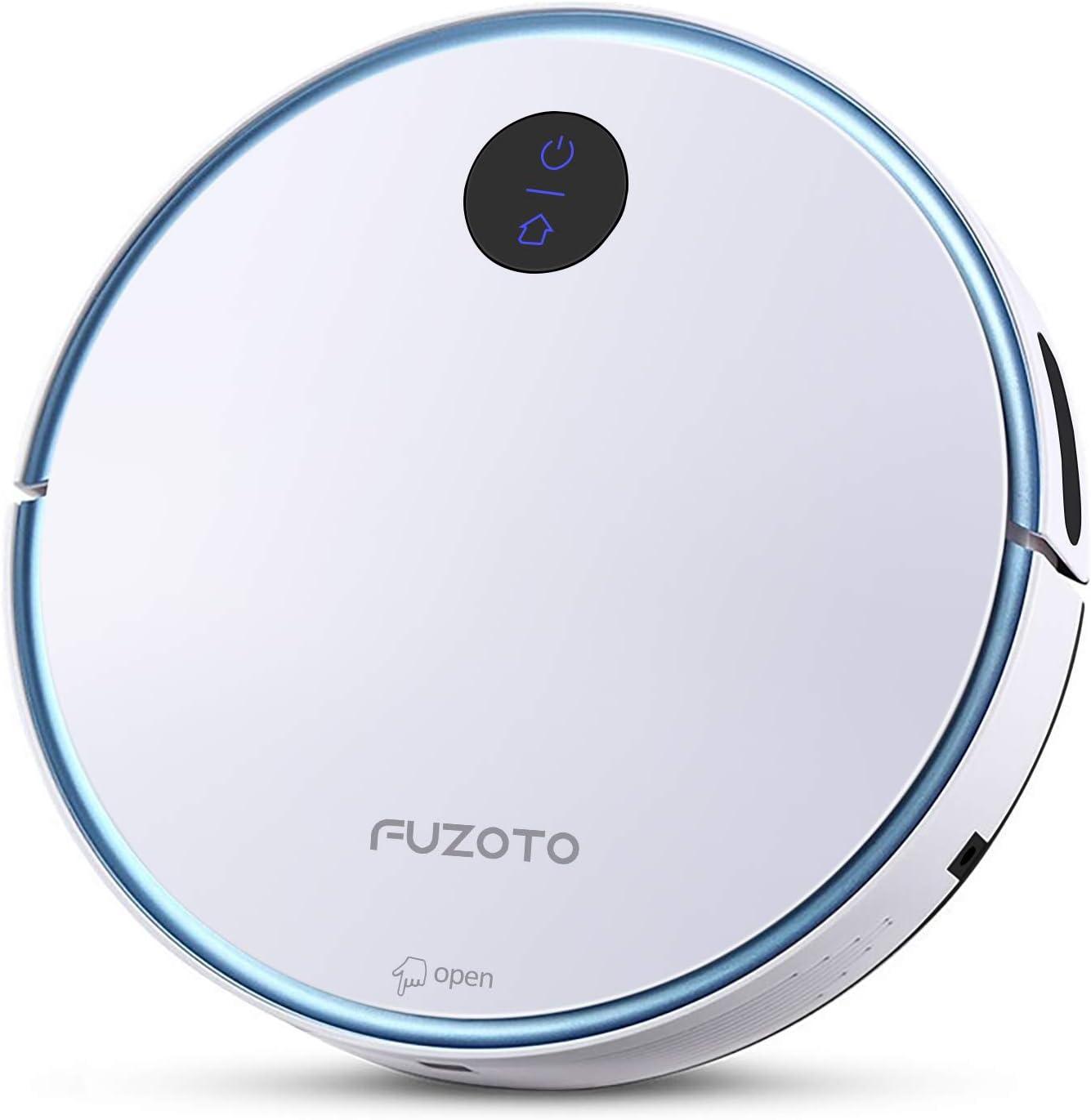 FUZOTO F6S Robot Vacuum Cleaner, Tangle-Free 1500Pa Suction, Automatic Self-Charging Robotic Vacuum, WiFi/App/Alexa, Super Quiet Cleaning Robot for Pet Hair, Low-Pile Carpet, Hard Floor, White