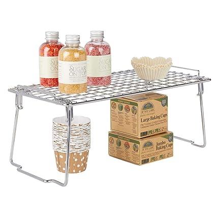 Color Bronce Moderno Organizador de armarios para la vajilla latas de conservas y Especias Repisa met/álica de Cocina con Patas Plegables mDesign Estante apilable para almacenaje de Cocina