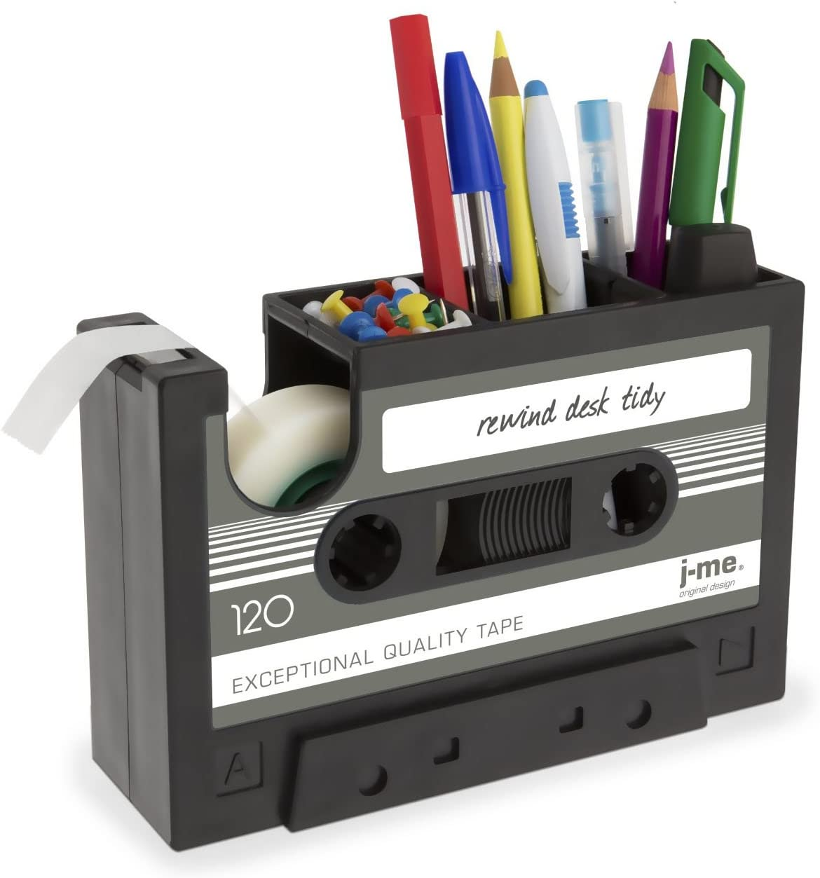 Cassette Tape Dispenser Pen Holder Vase Pencil Pot Stationery Desk Tidy Container Office Stationery Supplier Gift-onepalace (Black)