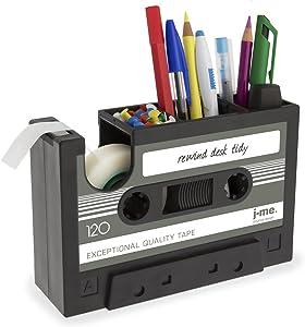 Cassette Tape Dispenser Pen Holder Vase Pencil Pot Stationery Desk Tidy Container Office Stationery Supplier Gift-onepalace (Black)