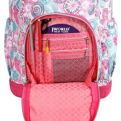 J World New York Kids' Lollipop Rolling Backpack With Lunch Self-Magnetic Sparkling Wheel and'FREE'Lunch Bag, Blue Raspberry, 16