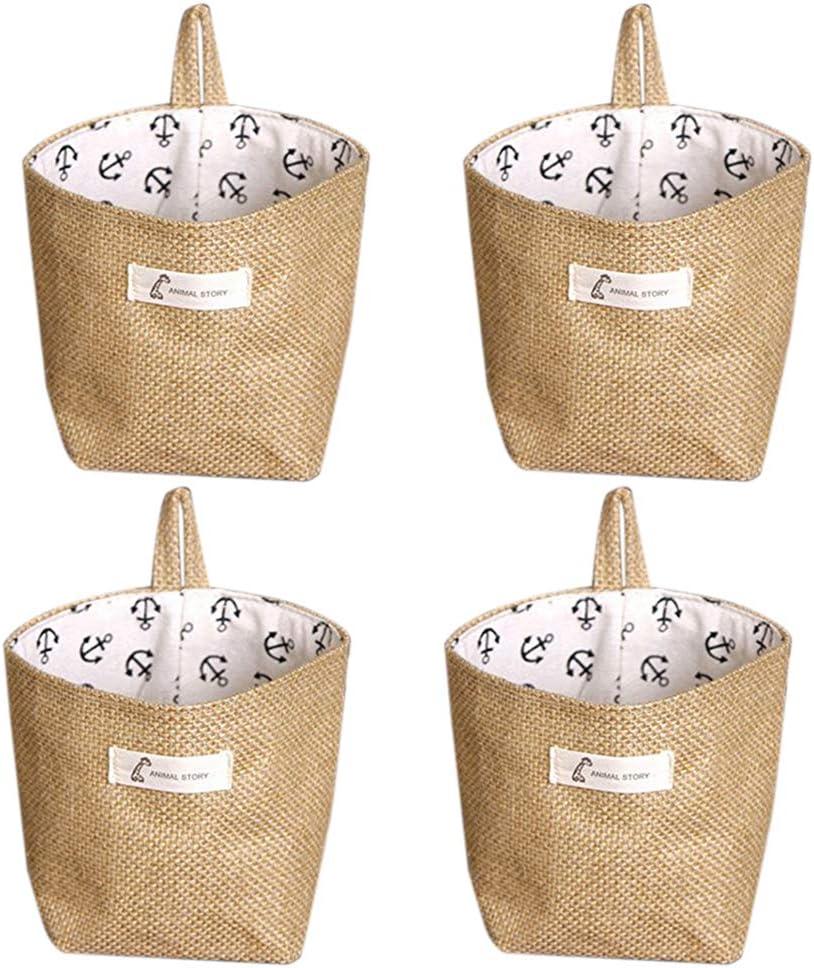 Lino y algodón bolsa de almacenamiento cesta plegable bolsa de almacenamiento cesta con asa,organizar caja para armario de casa (Paquete De 4)