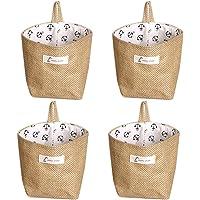 Lino y algodón bolsa de almacenamiento cesta plegable