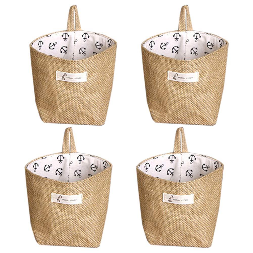 Accueil Organiser Box Office Accueil Placard Jouets Bureau Chambre. 4 Pack TOOGOO Tissu Non-Tiss/é Panier de Rangement Sac de Rangement Pliable Panier Sac avec Poign/ée