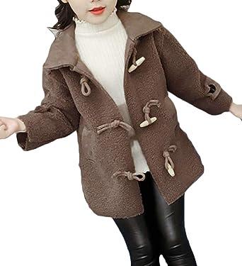 8ecf6d59 Cromoncent Girls Winter Fleece Thick Lapel Toggle Woolen Pea Coat Jacket  Dark Grey 4T