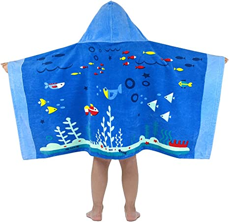 Amazon.com: Kids Bath and Beach Hooded Towel Wrap - Soft Cotton Hooded  Towel for Boys Girls, Children Swim Bath Pool Cover Up, 50.4