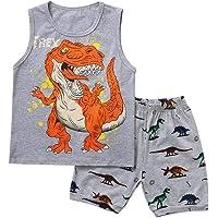 1-7 Años,SO-buts Bebé Niño Niños Chándal De Verano De Dibujos Animados Camisa De Dinosaurio Chaleco Tops + Conjunto De…