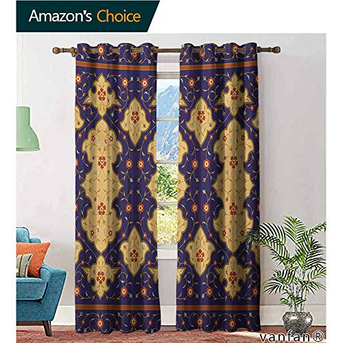 (Custom Design Window Curtain Panel,MoroccanTraditional Arabic Border Visual Ottoman Inspired Unusual Repeating Pattern,for Living/Bedroom Room/Patio Door,Purple Sand Brown,W108 xL96)
