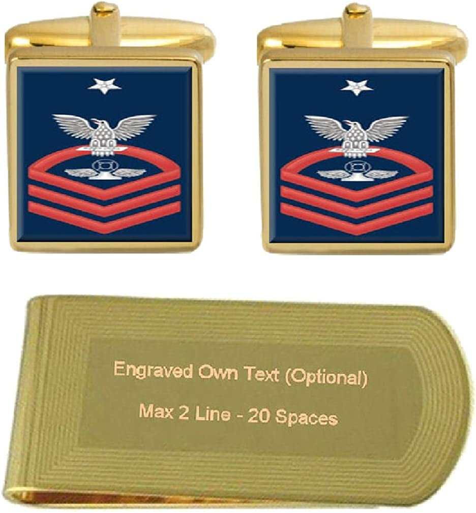 Select Gifts Cufflinks Engraved Money Clip U.S Navy Senior Chief Red E-8 Air Traffic Controller AC