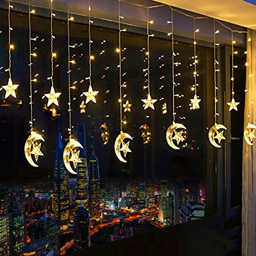 138 LED Star Curtain Lights, Window Curtain String Light Moon Star String Lights with 2 Charging Ways(Batteries/USB) for Wedding Party Home Garden Bedroom Outdoor Indoor Wall Decorations (Warm White)]()