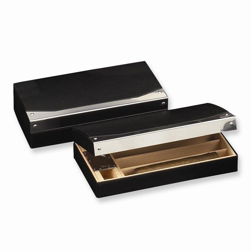 Best Designer Jewelry Black Leather & Wood (Holds 4 Cigars) Travel Humidor Set