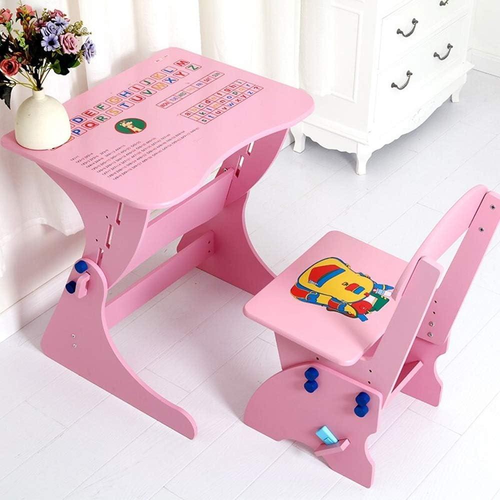 子ども用テーブル椅子セット 子供学生の机と椅子子供の研究のための男の子女の子引き出し鉛筆スロットキッズ 子供用テーブルチェアセット (色 : ピンク, サイズ : 49X67X78CM)