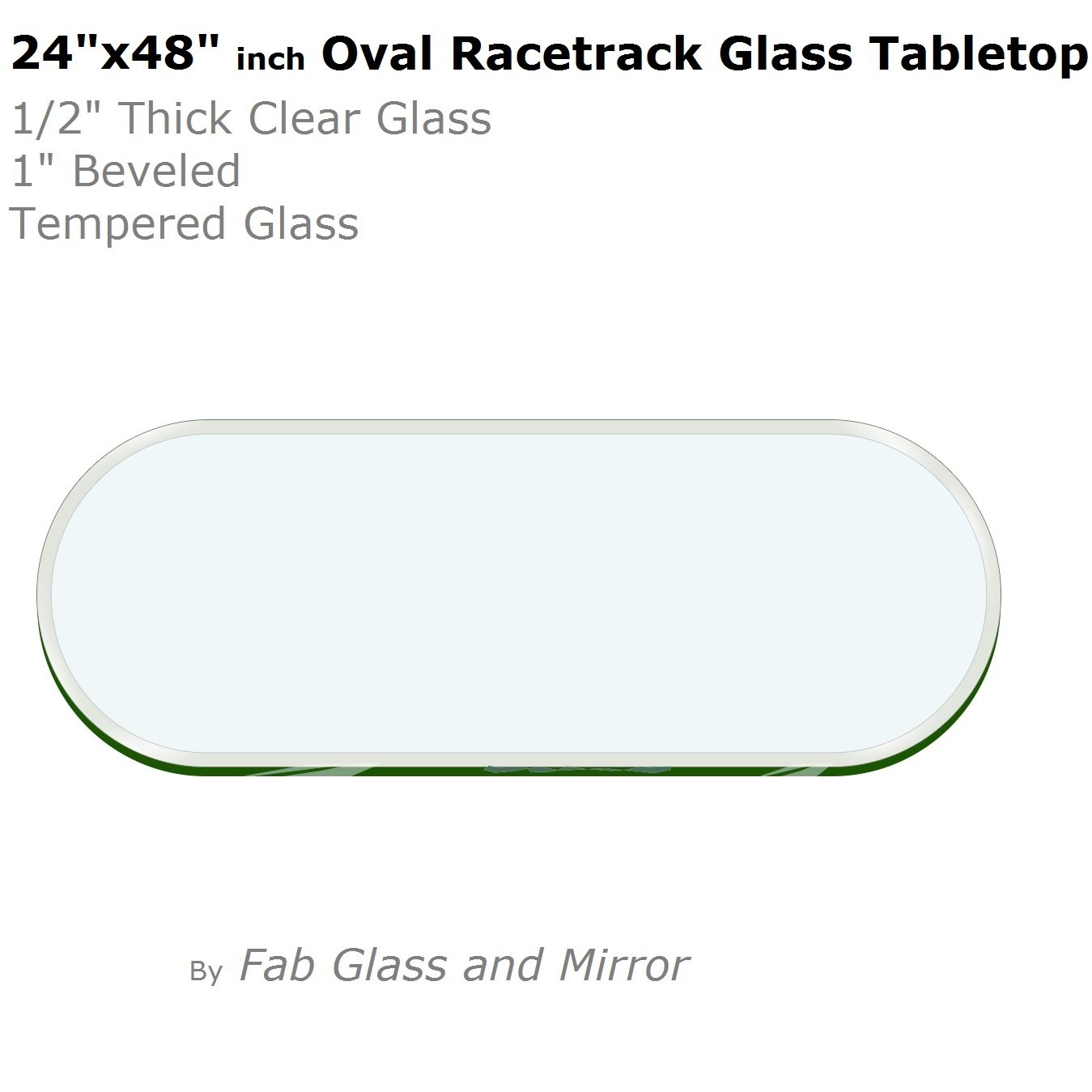 """24"""" x 48""""  Racetrack Oval Glass Table Top"""