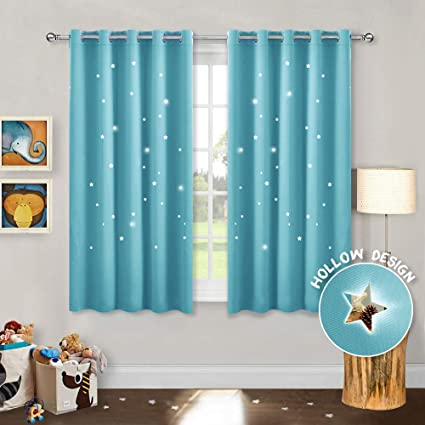 Pony Dance Short Star Curtains Decorative Window Curtain Panels For Boys Girls Room Darkening Drapes Eyelet Top For Children Good Sleep Set Of 2 66 Inches By 54 Inches Blue Amazon Co Uk Kitchen Home