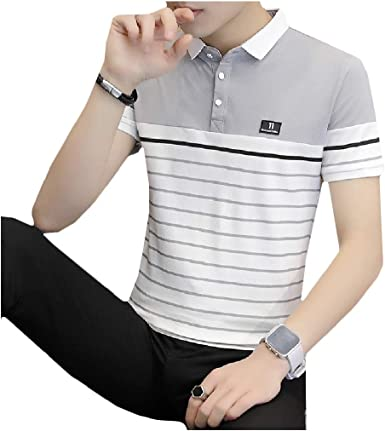 Comaba Mens Original Fit Floral Print Polo-Collar Blouse T-Shirt Tops