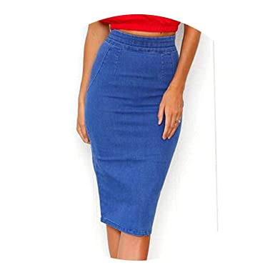 d47ae4c3fe7 Denim Skirts Plus Size High Waist Midi Dress Pencil Skirt Jeans Lady Long Denim  Skirt at Amazon Women s Clothing store