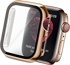 Yolovie Compatible for Apple Watch SE Series 6/5/ 4 Case with Tempered Glass Screen Protector 40mm, Hard PC Bumper Overall Protective Cover Frame for iwatch Accessories (40mm Rose Gold)