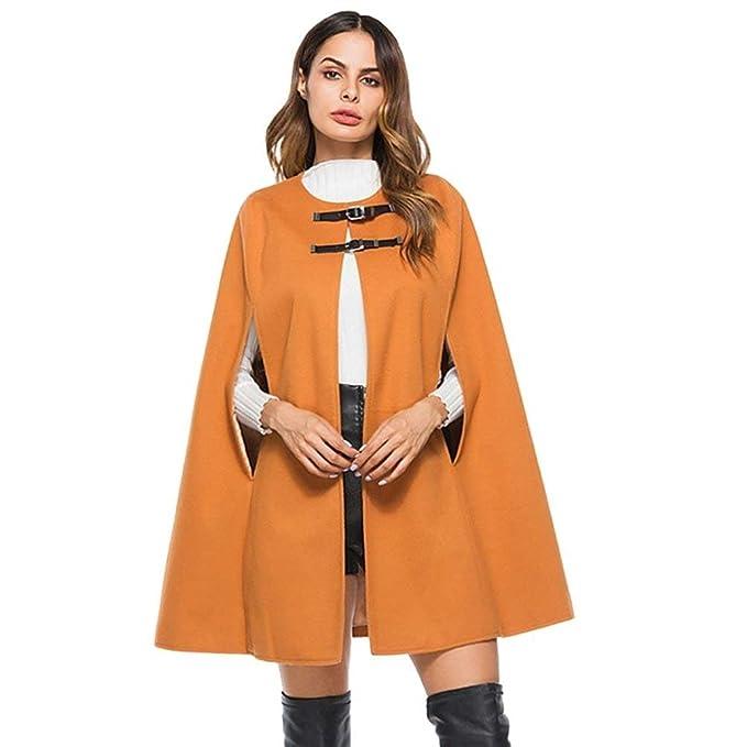 Battercake Mujer Capa Elegante Moda Vintage Outerwear Otoño Casuales Mujeres Invierno Sleeveless Chal Unicolor Moda Joven Abrigos Chaqueta: Amazon.es: Ropa ...
