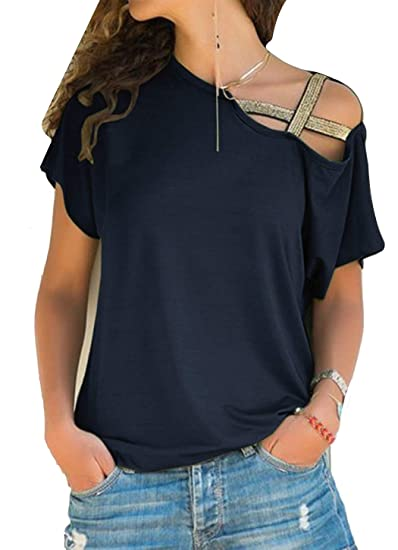 696c2a0f590 JOSSOIOJ Women's Casual Off Shoulder Tops Short Sleeve T Shirts Lose Sexy Tank  Tops Blouses at Amazon Women's Clothing store: